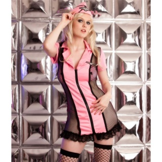 SEXY 5 PCS NAUGHTY STEWARDESS SUIT UNIFORM OUTFIT CLUBBING PINK/BLACK