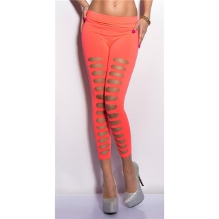 SEXY 7/8 LEGGINGS MIT CUT-OUTS GOGO CLUBWEAR NEON CORAL