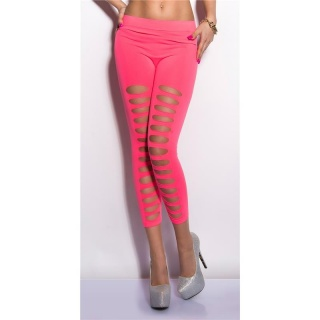 SEXY 7/8 LEGGINGS WITH CUT-OUTS CLUBWEAR NEON-FUCHSIA