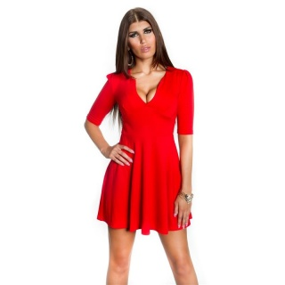 SEXY A-LINE MINI DRESS EVENING DRESS BABYDOLL RED