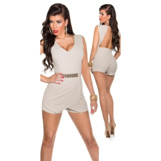 SEXY SLEEVELESS SKORT OVERALL PLAYSUIT BACKLESS BEIGE