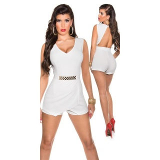 SEXY SLEEVELESS SKORT OVERALL PLAYSUIT BACKLESS WHITE