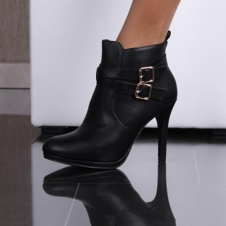 SEXY ANKLE BOOTS HIGH HEELS MADE OF ARTIFICIAL LEATHER BLACK