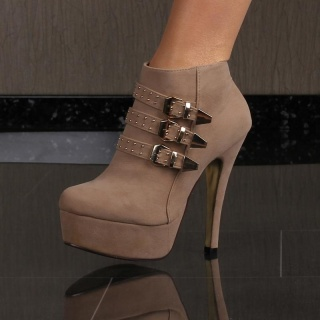 SEXY PLATFORM ANKLE BOOTS HIGH HEELS VELOUR WITH BUCKLES KHAKI