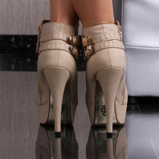 SEXY PLATFORM ANKLE BOOTS HIGH HEELS WITH BUCKLES KHAKI