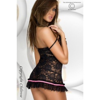 SEXY BABYDOLL MADE OF LACE DESSOUS GOGO BLACK/PINK