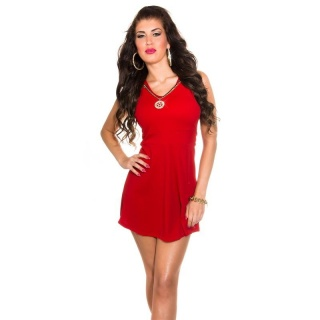 SWEET BABYDOLL PARTY MINI DRESS WITH REMOVABLE NECKLACE RED