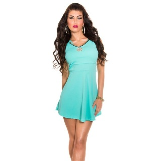 SWEET BABYDOLL PARTY MINI DRESS WITH REMOVABLE NECKLACE TURQUOISE