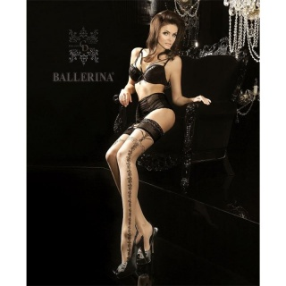 SEXY BALLERINA GLAMOUR NYLON STOCKINGS WITH LACE TOP NUDE/BLACK