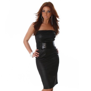 SEXY BANDEAU EVENING DRESS LEATHER-LOOK WET LOOK BLACK