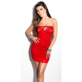 SEXY LACE EVENING DRESS MINI DRESS WITH RHINESTONES RED