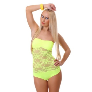 SEXY BANDEAU BODY MADE OF TRANSPARENT LACE NEONYELLOW