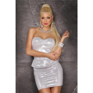 SEXY GLAMOUR PARTY MINIDRESS WITH SEQUINS AND PEPLUM WHITE