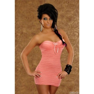 SEXY BANDEAU MINIDRESS WITH FLOUNCE STRIPES APRICOT