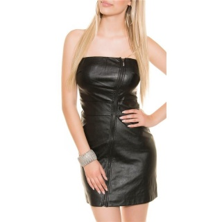 SEXY BANDEAU MINIDRESS IMITATION LEATHER  WITH ZIPPER BLACK