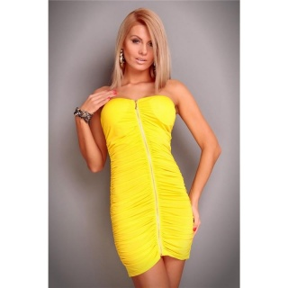 SEXY BANDEAU MINIDRESS GOGO CLUBWEAR YELLOW