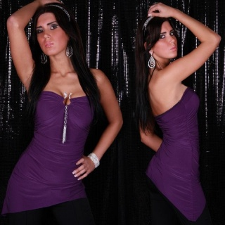 SEXY MINIDRESS WITH BUCKLE AND RHINESTONES PURPLE