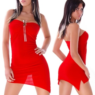 SEXY MINIDRESS WITH BUCKLE AND RHINESTONES RED