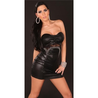 SEXY BANDEAU MINIDRESS WITH LACE WET LOOK CLUBWEAR BLACK