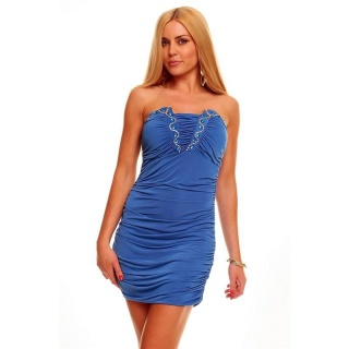 SEXY BANDEAU MINIDRESS WITH RHINESTONES BLUE