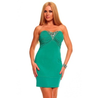 SEXY BANDEAU MINIDRESS WITH RHINESTONES GREEN