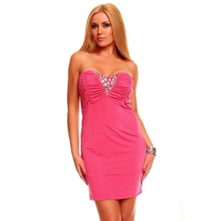 SEXY BANDEAU MINI DRESS WITH RHINESTONES FUCHSIA