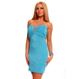 SEXY BANDEAU MINIDRESS WITH RHINESTONES TURQUOISE