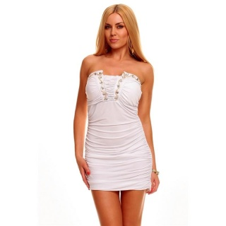 SEXY BANDEAU MINI DRESS WITH RHINESTONES WHITE