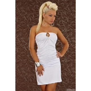 SEXY BANDEAU MINIDRESS WITH RHINESTONES WHITE