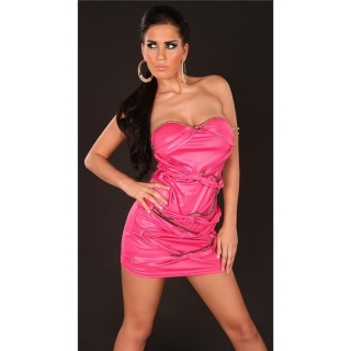 SEXY BANDEAU MINIDRESS WITH LACING WET LOOK CLUBWEAR FUCHSIA