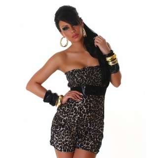 SEXY BANDEAU SHORT OVERALL JUMPSUIT LEOPARD-LOOK BROWN/BLACK