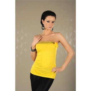 SEXY BANDEAU TOP WITH RHINESTONES BLOOM YELLOW