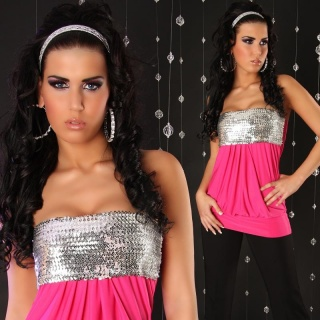 SEXY BANDEAU TOP WITH SEQUINS FUCHSIA/SILVER