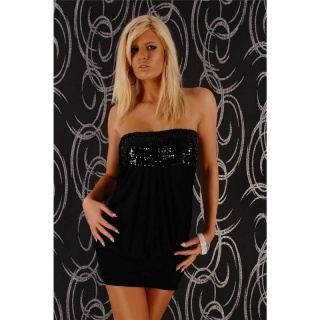 SEXY BANDEAUKLEID MINIKLEID MIT PAILLETTEN PARTY SCHWARZ