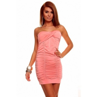 SEXY BANDEAU DRESS MINI DRESS WITH RUFFLES SALMON