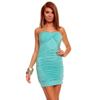 SEXY BANDEAU DRESS MINI DRESS WITH RUFFLES MINT GREEN