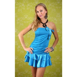 SEXY BANDEAU DRESS MINI DRESS WITH SATIN LOOP TURQUOISE