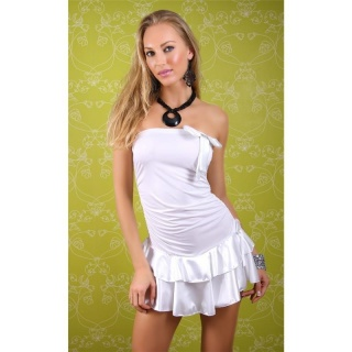 SEXY BANDEAU DRESS MINIDRESS WITH SATIN LOOP WHITE