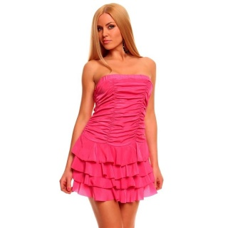 SEXY BANDEAU DRESS MINIDRESS WITH FLOUNCES FUCHSIA