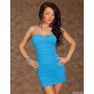SEXY BANDEAU DRESS MINIDRESS TURQUOISE BLUE