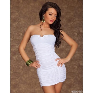 SEXY BANDEAU DRESS MINIDRESS WHITE