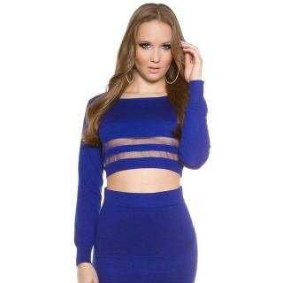 SEXY FINE-KNITTED CROPPED SWEATER JUMPER WITH STRIPES ROYAL BLUE