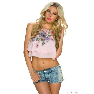 SEXY CHIFFON BELLY CROP TOP WITH FLOWERS PINK