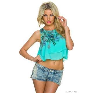SEXY CHIFFON BELLY CROP TOP WITH FLOWERS TURQUOISE