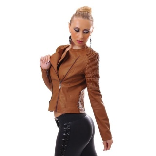 SEXY BIKER JACKET MADE OF ARTIFICIAL LEATHER WITH ZIPPER BROWN