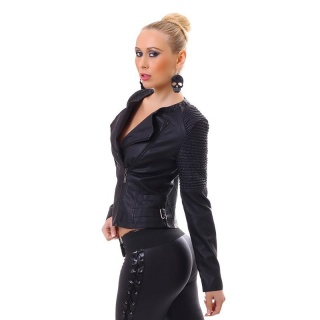 SEXY BIKER JACKET MADE OF ARTIFICIAL LEATHER WITH ZIPPER BLACK