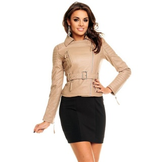 SEXY BIKER-JACKET MADE OF SOFT IMITATION LEATHER WITH BELT BEIGE
