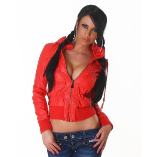 SEXY BIKER-JACKET IN LEATHER-LOOK WITH HOOD AND ZIPPER RED