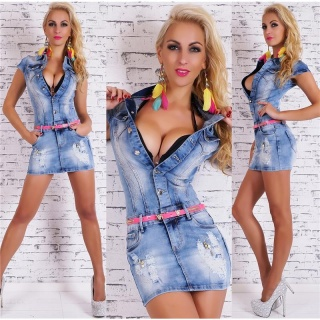SEXY BLEACHED JEANS MINIDRESS FITTED WITH BELT BLUE