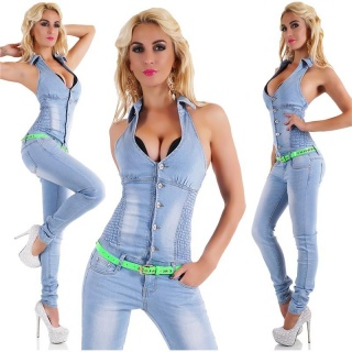 SEXY BLEACHED HALTERNECK JEANS-OVERALL JUMPSUIT WITH BELT LIGHT BLUE